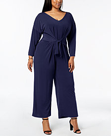 NY Collection Plus Size Tie-Waist Jumpsuit