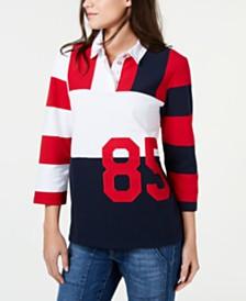 Tommy Hilfiger Rugby Varsity Piqué Polo Shirt, Created for Macy's