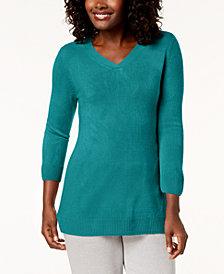 Karen Scott Petite Luxsoft V-Neck Sweater, Created for Macy's