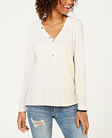 American Rag Juniors' High-Low Henley Top, Created for Macy's