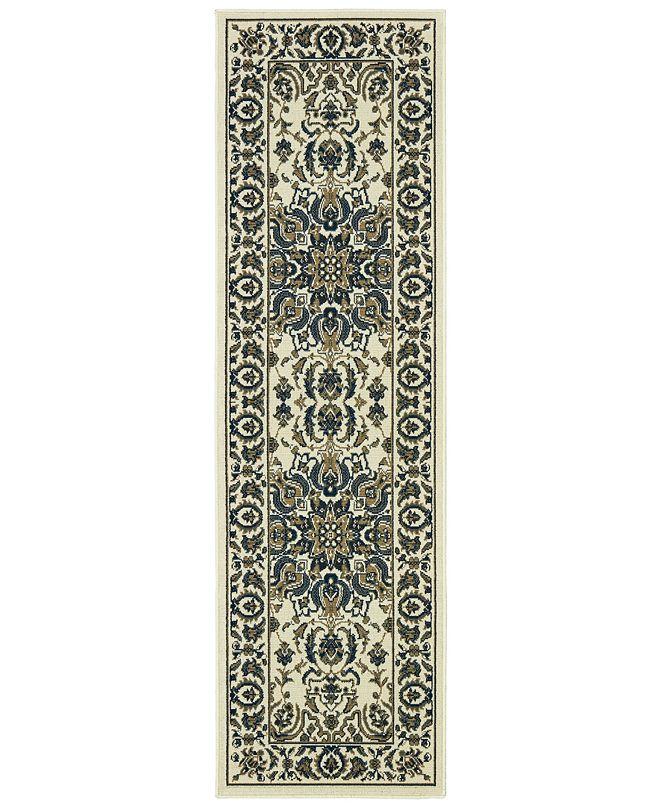 """Oriental Weavers Marina 1248W Ivory/Navy 2'3"""" x 7'6"""" Indoor/Outdoor Runner Area Rug"""