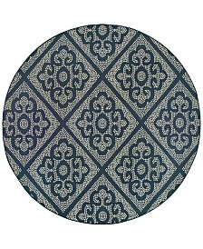 """Oriental Weavers Marina 3804B Navy/Ivory 7'10"""" Indoor/Outdoor Round Area Rug"""