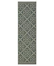"""Oriental Weavers Marina 3969L Gray/Ivory 2'3"""" x 7'6"""" Indoor/Outdoor Runner Area Rug"""