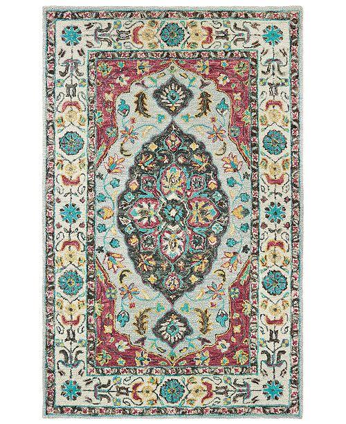 "Oriental Weavers Zahra 75504 Grey/Pink 2'6"" x 8' Runner Area Rug"