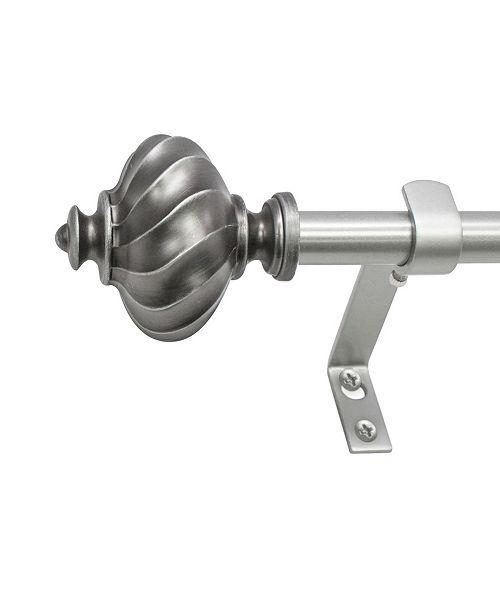 Decopolitan Montevilla  5/8-Inch Ribbed Knob Telescoping Curtain Rod Set, 86 to 128-Inch, Dark Nickel