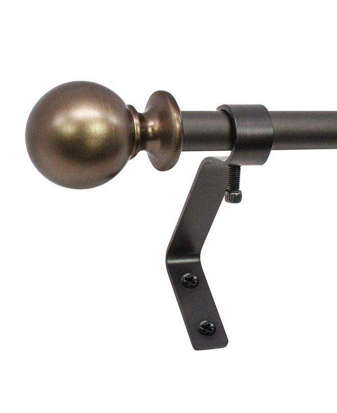 Decopolitan Montevilla 1/2-Inch Ball Telescoping Cafe Curtain Rod Set, 48 to 86-Inch, Brown