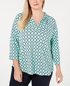 Charter Club Plus Size Iconic-Print V-Neck Top, Created for Macy's