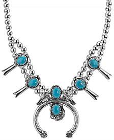Turquoise Naja and Squash Blossom Necklace in Sterling Silver