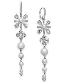 Silver-Tone Crystal & Imitation Pearl Flower Linear Drop Earrings, Created for Macy's