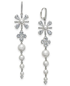 Eliot Danori Silver-Tone Crystal & Imitation Pearl Flower Linear Drop Earrings, Created for Macy's