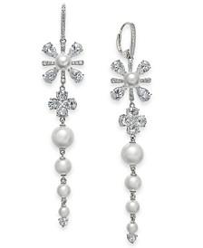 Eliot Danori Silver-Tone Crystal & Imitation Pearl Flower Linear Drop Earrings, Created for Macy's