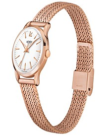 Richmond Ladies 25mm Rose Gold Stainless Steel Mesh Bracelet Watch with Rose Gold Stainless Steel Casing
