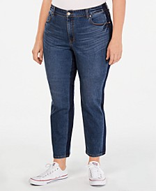 Plus Size Tummy-Control Slim-Leg Two Tone Jeans, Created for Macy's
