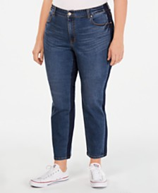 Style & Co Plus Size Tummy-Control Slim-Leg Two Tone Jeans, Created for Macy's