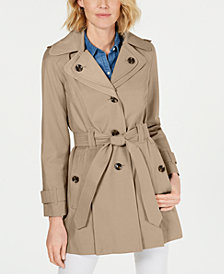 London Fog Hooded Water-Repellent Trench Coat