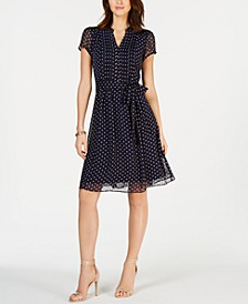 Petite Printed Pleated Fit & Flare Dress