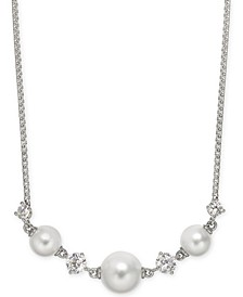 "Crystal & Imitation Pearl Statement Necklace, 16"" + 1"" extender, Created for Macy's"