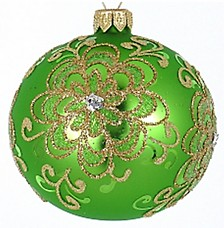 "Light Green 4 Pc Set of Mouth Blown & Hand Decorated European 3.25"" Round Holiday Ornaments"
