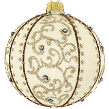 "Cream Champagne 4 Pc Set of Mouth Blown & Hand Decorated European 4"" Round Holiday Ornaments"