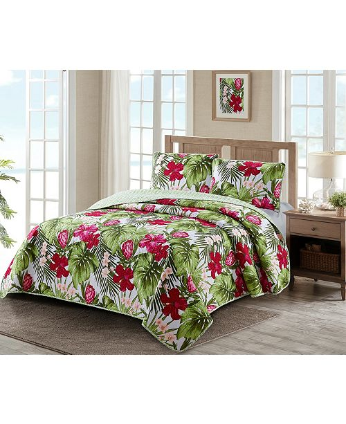 Welcome Industrial Paradise Palm 3 Piece Quilt Set King