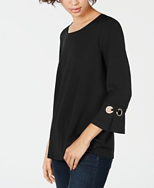 John Paul Richard Petite Keyhole Grommet-Cuff Top