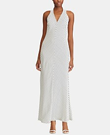 Lauren Ralph Lauren Striped V-Neck Dress