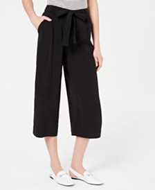 Maison Jules Wide-Leg Tie-Waist Pants, Created for Macy's