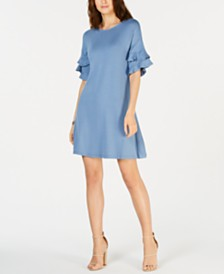 John Paul Richard Petite Ruffled-Cuff Dress