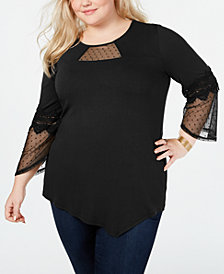 NY Collection Plus Size Swiss Dot Jersey Crepe Top