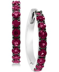 EFFY® Certified Ruby Hoop Earrings (1-1/6 ct. t.w.) in Sterling Silver (Also available in Sapphire)