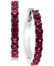 EFFY® Certified Ruby Hoop Earrings (1-1/6 ct. t.w.) in Sterling Silver