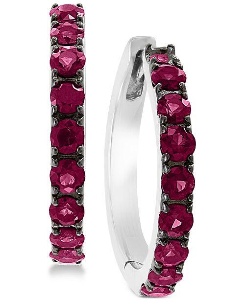 EFFY Collection EFFY® Certified Ruby Hoop Earrings (1-1/6 ct. t.w.) in Sterling Silver