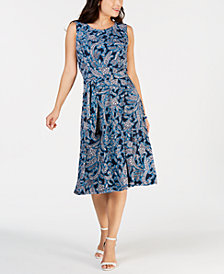 Charter Club Petite Belted Paisley Midi Dress, Created for Macy's