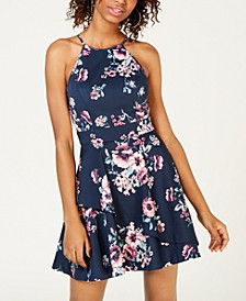 Juniors' Printed Crisscross Fit & Flare Dress, Created for Macy's