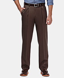 Men's Premium No Iron Khaki Classic Fit Pleat Hidden Expandable Waist Pants