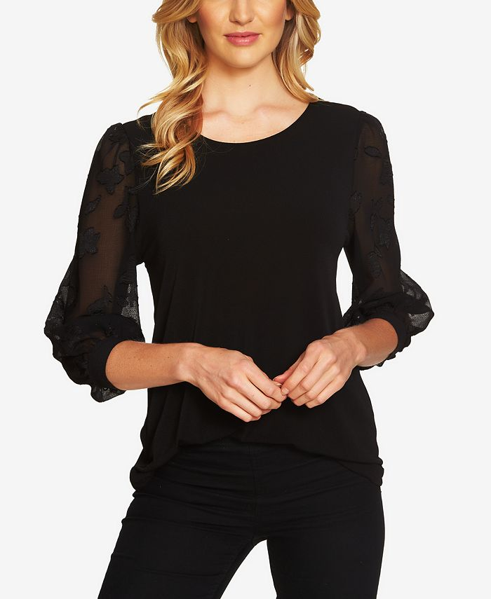 CeCe - Lace-Sleeve Knit Blouse