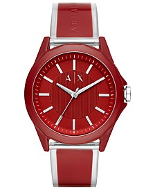 A|X Armani Exchange Men's Drexler Red Polyurethane Strap Watch 44mm
