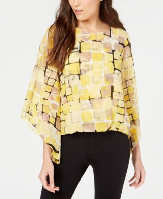 Printed Angel-Sleeve Bubble-Hem Blouse, Created for Macy's
