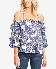1.STATE Printed Ruffled Off-The-Shoulder Top