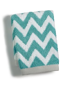 "Martha Stewart Collection Chevron Spa Cotton 13"" x 13"" Wash Towel, Created for Macy's"