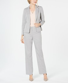 Le Suit Petite Textured One-Button Pantsuit