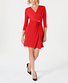 Charter Club Petite Faux-Wrap Dress, Created for Macy's