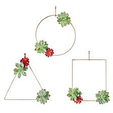 Madison Park Succulent Trio Man-made Succulent on Metal Hangers, Set of 3