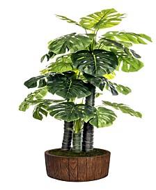 """Laura Ashley 76.8"""" Tall door Monstera Ceriman Artificial Indoor/ Outdoor Lifelike Faux In 12.8"""" Brown Wood-like Fiberstone Planter"""