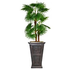 "Laura Ashley 66.8"" Tall Fan Palm Tree Artificial  Décor Faux Burlap Kit and Fiberstone Planter"