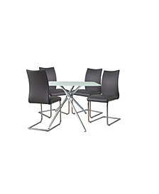 """Square 36"""" Bistro Dining Table with Leatherette Chair Collection Set of 5 Pieces"""