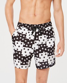 "Calvin Klein Men's Star-Block 5.5"" Swim Trunks, Created for Macys"
