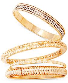 GUESS Gold-Tone 4-Pc. Set Pavé Bangle Bracelets