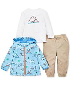 Little Me Baby Boys 3-Pc. Dino-Print Jacket, Top & Jogger Pants Set