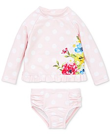 Floral Dot  Baby Girls 2-Piece Rashguard